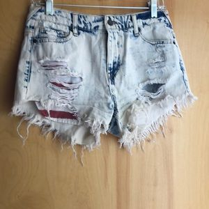 Mossimo acid wash jean shorts stripe stars pockets